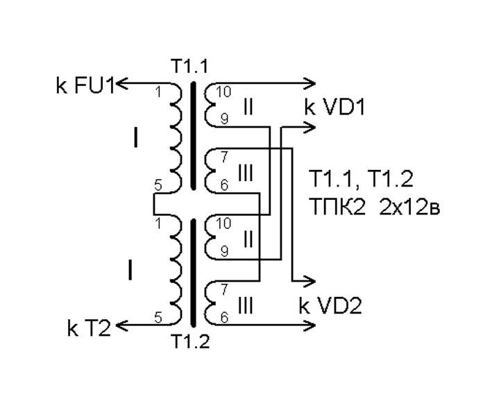 Рис.3 (схема подключения Т1)